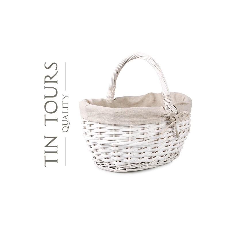 Biały Koszyk Wiklinowy Z Materiałem 31x24x1630 Cm
